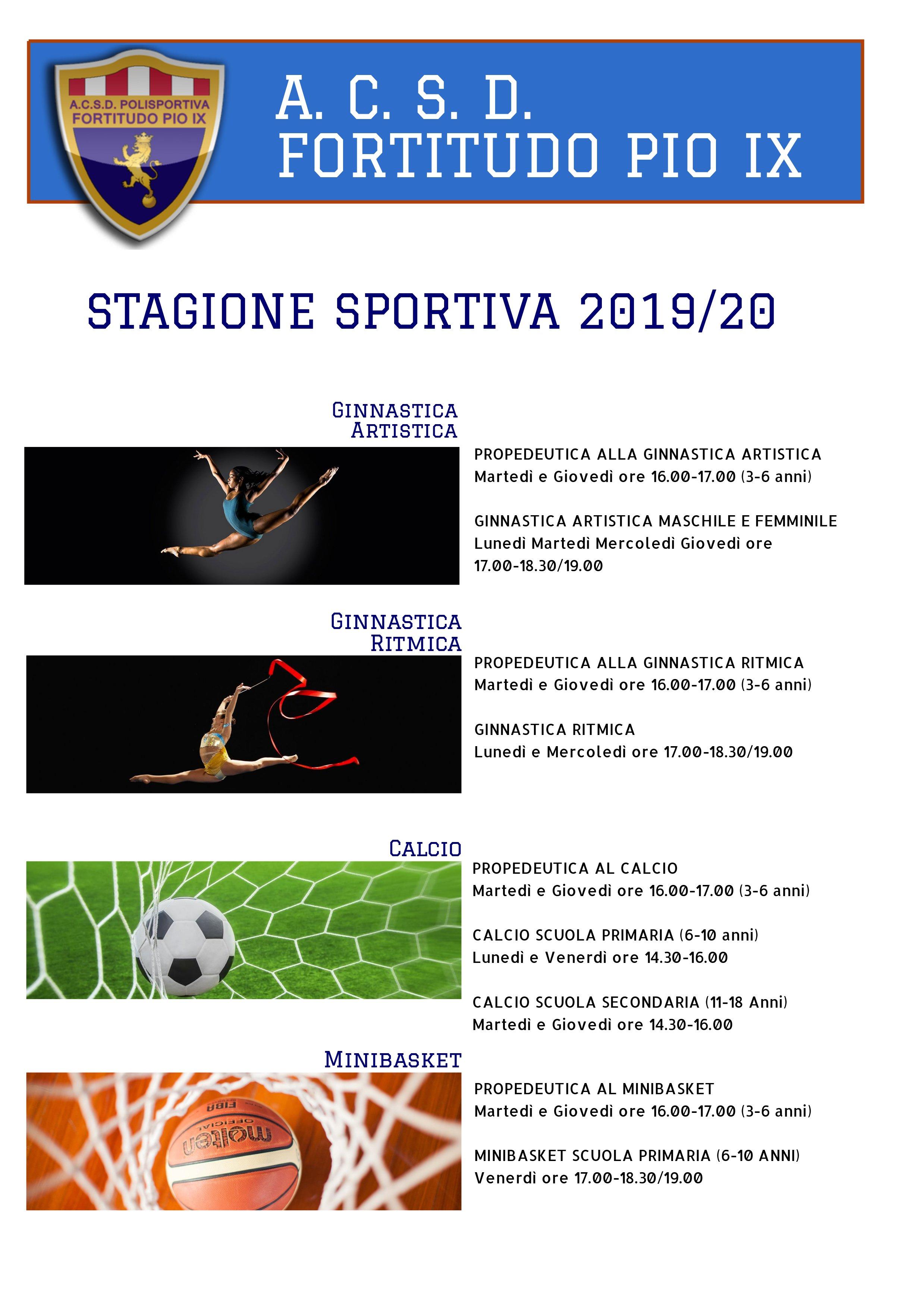 Calendario Fortitudo 2020.Attivita Sportive Stagione 2019 2020 Acsd Fortitudo Pio Ix